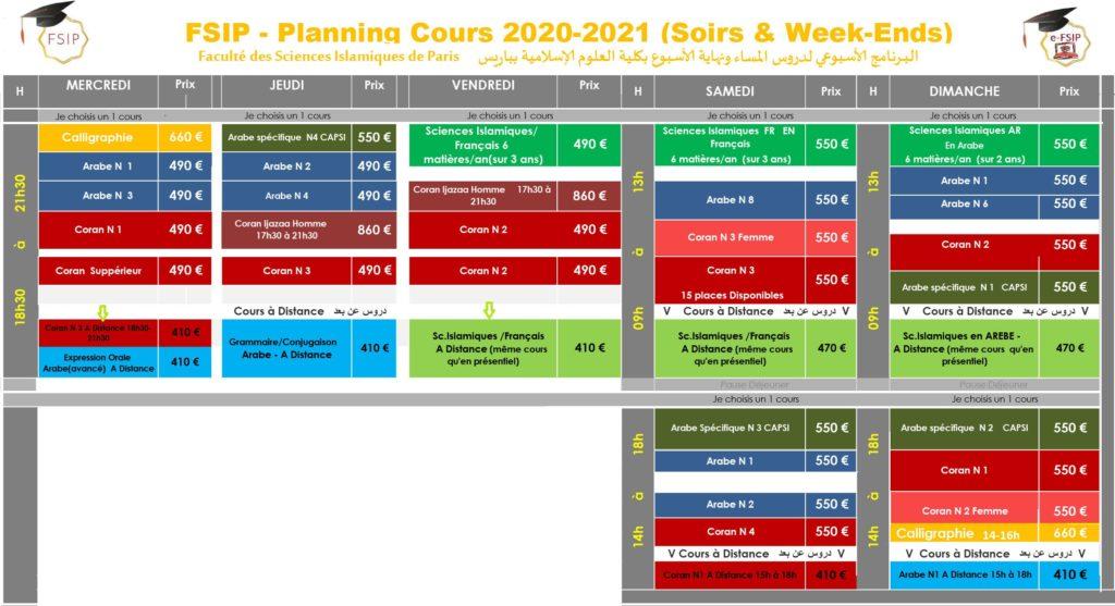 FSIP-JMB 20-21_planning_-soir-weekend_Cours_Arabe_Coran_Sciences-islamiques_Calligraphie-1024x557