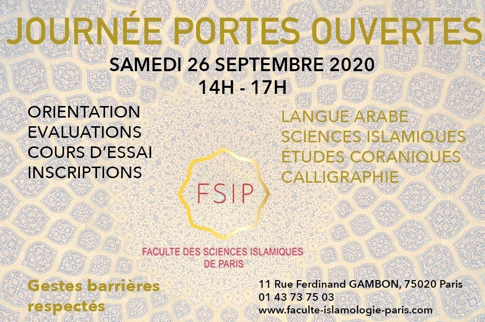 JPO 26 9 2020 PORTES OUVERTES الأيام المفتوحة 2020_2021_FSIP_Cours_Arabe_Coran_Calligraphie_islam_Religion_Paris_distance_zoom