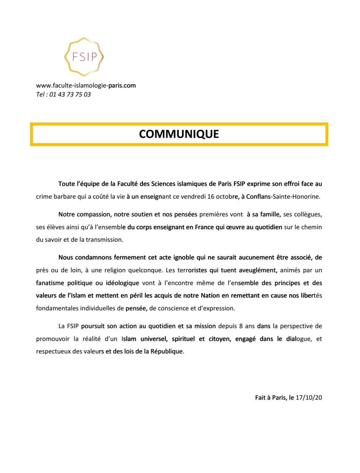 communiqué presse samuel paty condamnation FSIP