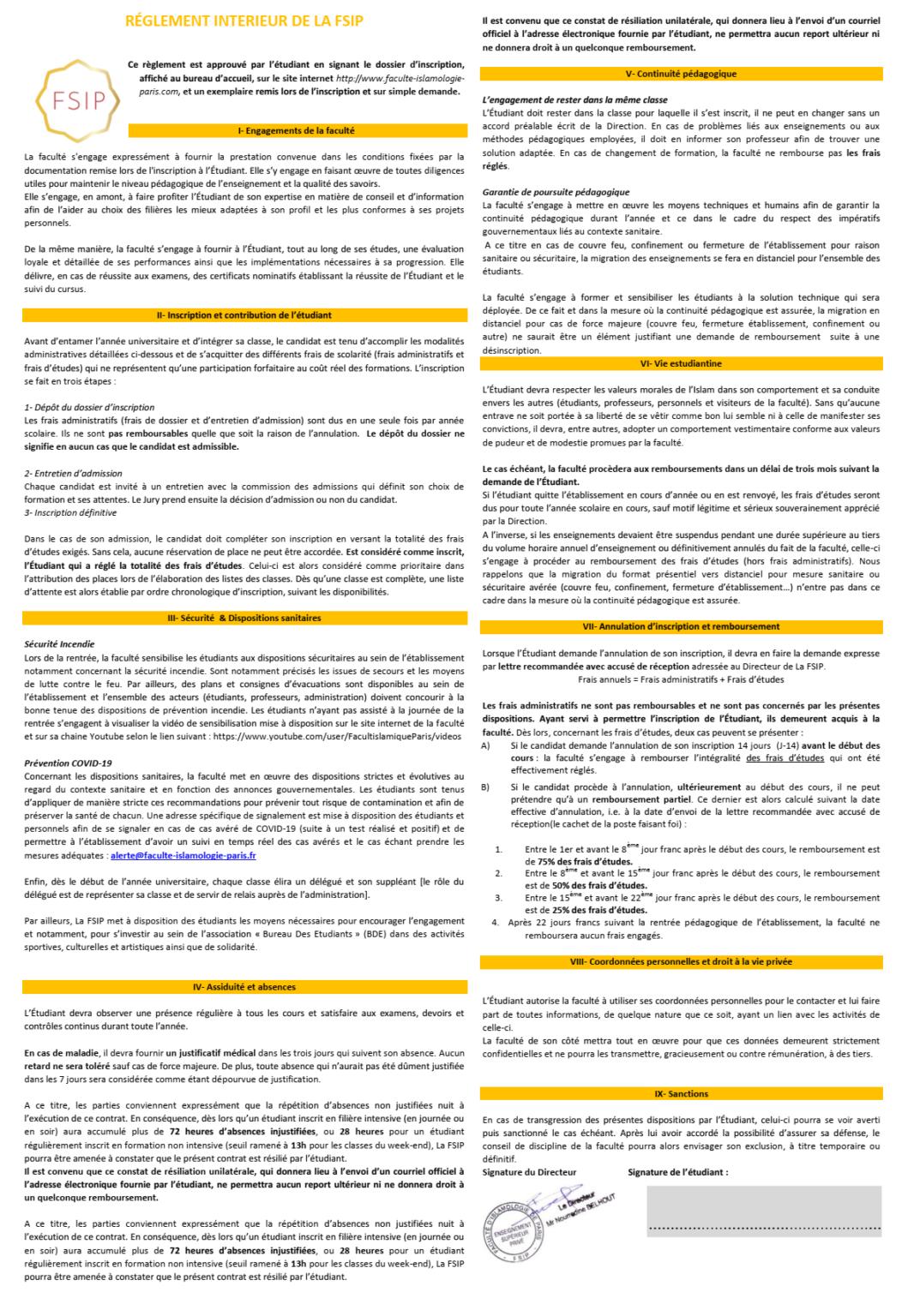 règlement intérieur FSIP