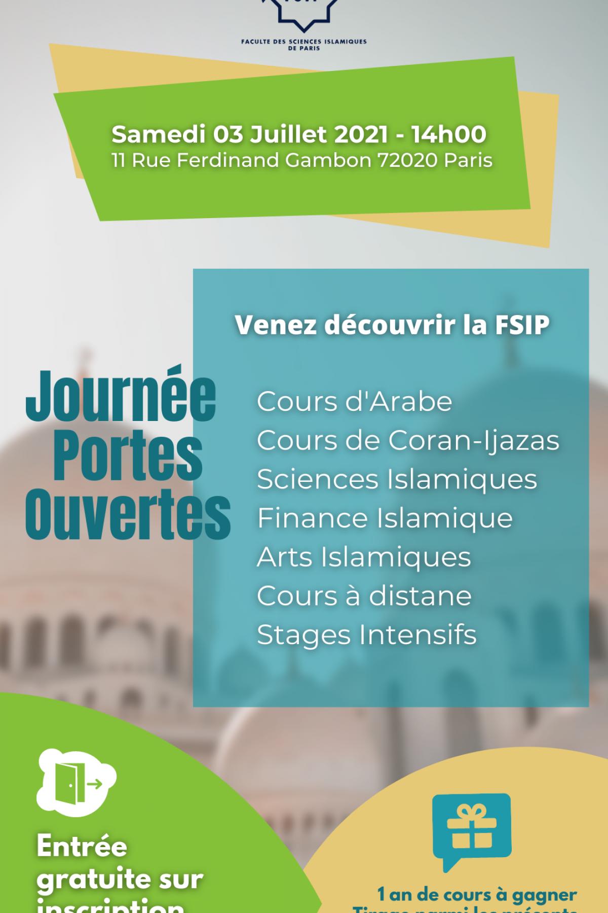 FSIP_Portes_Ouvertes_3/7/2021_Cours_gratuit_arabe_Coran_Islam_Religion_Calligraphie_Paris