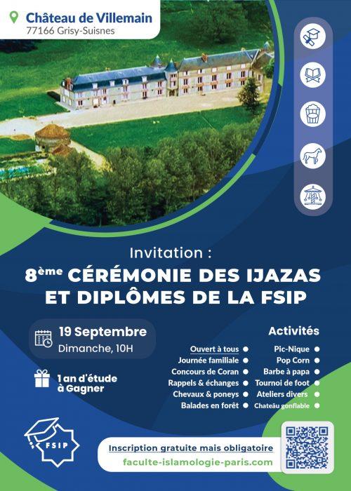invitation affiche fête cérémonie ijaza diplômes cours coran arabe sciences islamiques FSIP Paris 2021